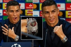 C. Ronaldo Shows Off £1.85 Million Watch Made With 424 Glistening White Diamonds (Pics)